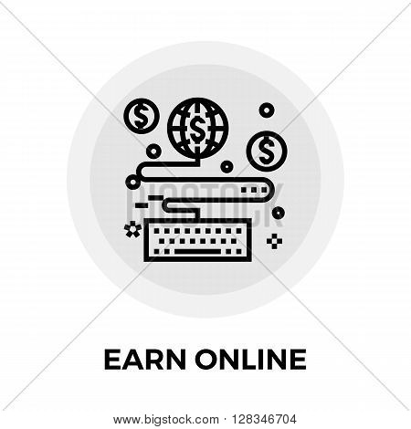 Earn Online icon vector. Flat icon isolated on the white background. Editable EPS file. Vector illustration.