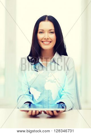 business, new technology and internet concept - smiling businesswoman with tablet pc computer and globe hologram