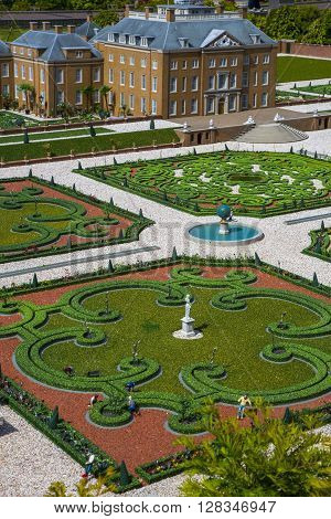 palaces and green gardens and flowerbeds bird's eye view