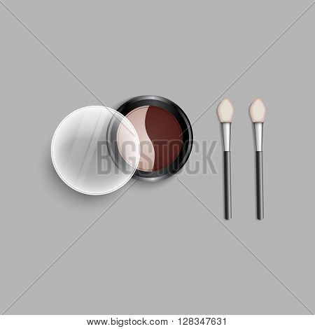 Set eye shadow duo and applicators. Vector illustration eye shadow palette.Set colored pallets with eye shadows. Double shadow pallet. Professional cosmetics.