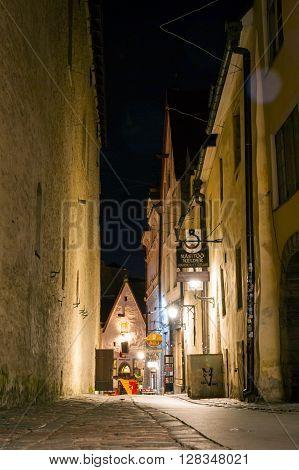 View On Night Street Of Old Town Of Tallinn