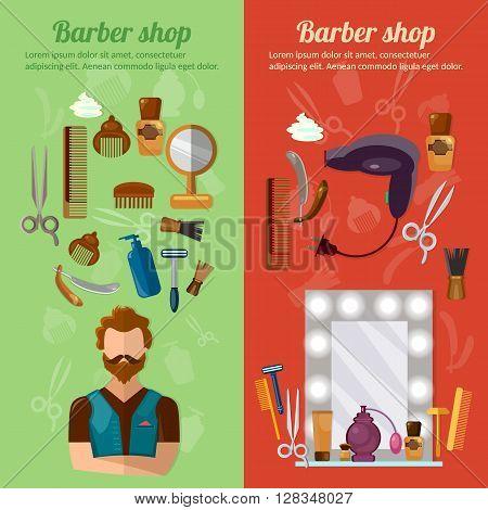 Barbers shop banner professional hairdresser barber tools hipster beard vector illustration