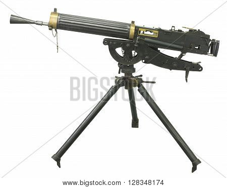 guns of World War I and the machine gun on a white background