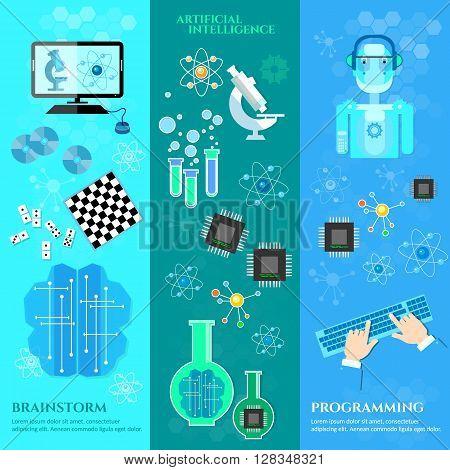 Artificial intelligence banners modern robot microchips development of robot programming vector illustration