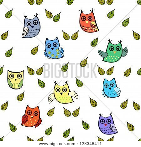 Owl and leaves vector seamless pattern. Vector owl. Animals and bird owl. Forest nature
