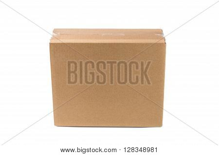 Closed Cardboard Box Or Brown Paper Package Box Isolated With Soft Shadow