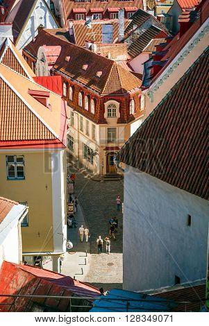 Tourists Walking Down Tallinn Old Town Street