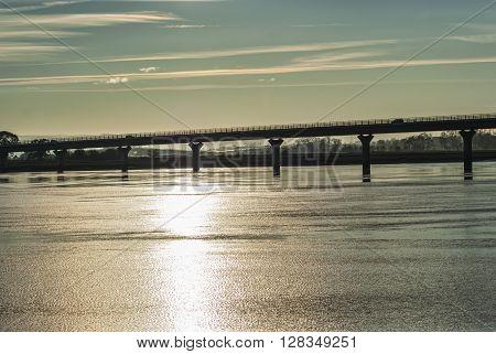 Sun shining on River Forth at Clackmannanshire Bridge