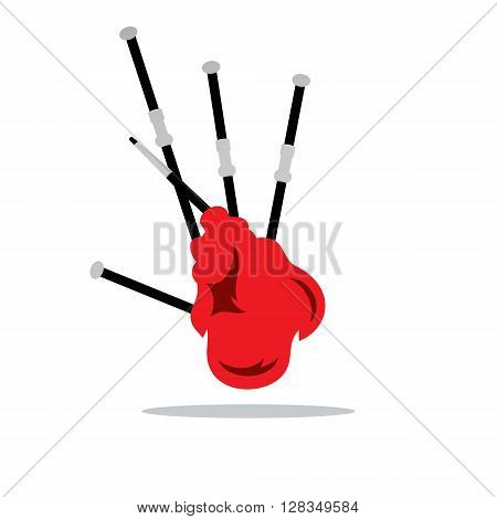 Scottish traditional musical wind Instrument Isolated on a White Background