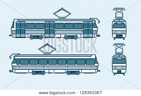 Set stock vector illustration isolated dark blue tram front, side, back view line style blue background Element for site, info graphic, video, animation, website, e-mail, newsletter, reports, comic, icon