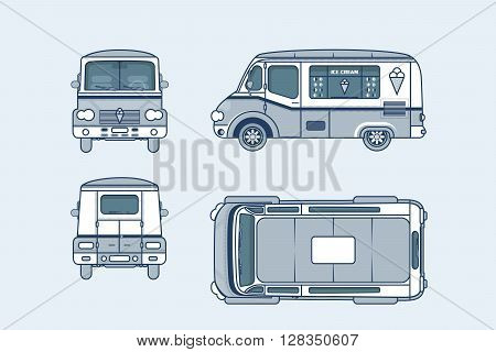 Set stock vector illustration isolated Ice cream car, Ice cream on wheels top, front, side, back view line style blue background Element info graphic, website, icon