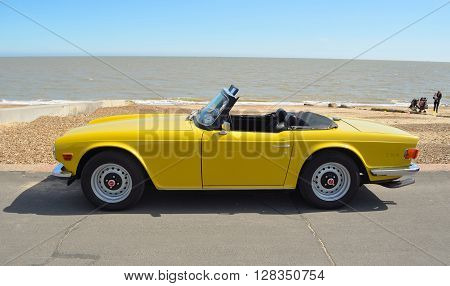Felixstowe, Suffolk, England - May 01, 2016: Classic Triumph TR6 on the seafront at Felixstowe.