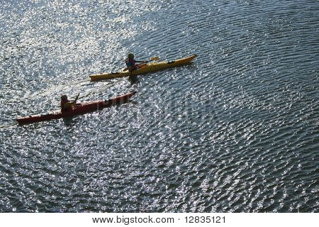 Aerial of two teenage boys kayaking on Bald Head Island, North Carolina.