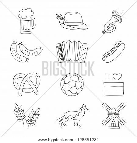 Set of German icons on a white background. Vector illustration. German logo. German labels.