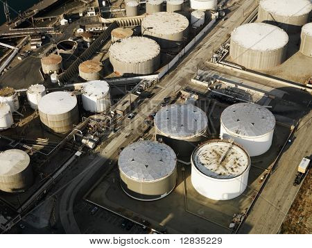 Aerial view of liquid storage tanks in Los Angeles California oil refinery.