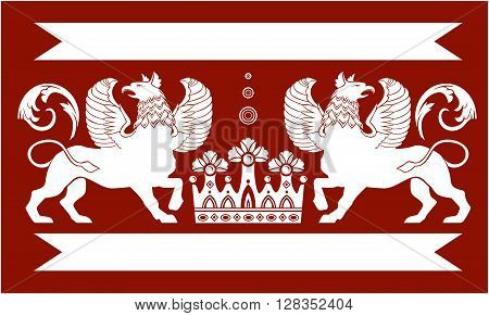 Red heraldic frame with Double Griffin and crown.