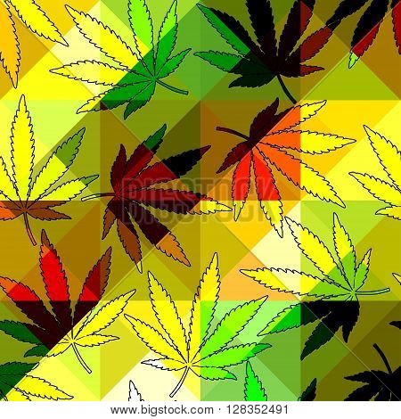 Seamless pattern from hemp leaves and geometric background