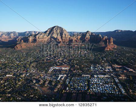 Aerial view of Sedona, Arizona with landforms.