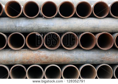 Metal pipes stacked background