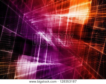 Abstract background element. Fractal graphics series. Three-dimensional composition of intersecting grids. Information technology concept. Gradient toned image.