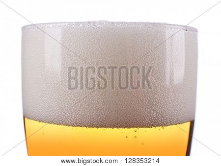 Big glass on beer isolated on white