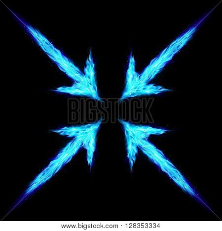 Four blue fire arrows directed to the centre. Illustration on black background