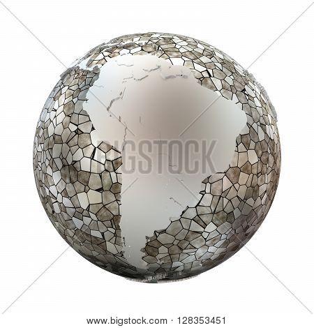 South America On Metallic Earth