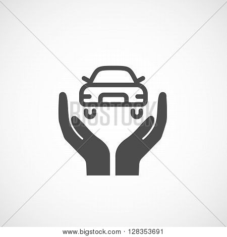 Icon car insurance. Silhouette sign vector illustration.