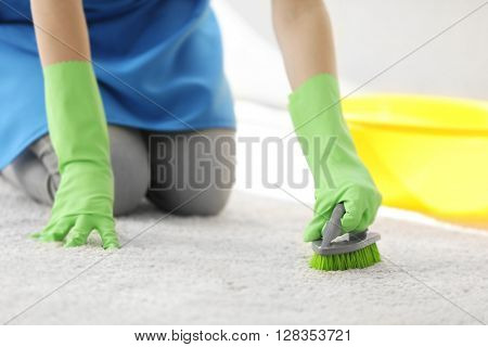 Cleaning concept. Young woman cleans carpet in the room, close up