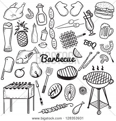 Vector sketchy line art Doodle set of objects and symbols for barbecue and grill theme. Vector barbecue doodle illustrations on whte background. Vector illustrations for web mobile and print.
