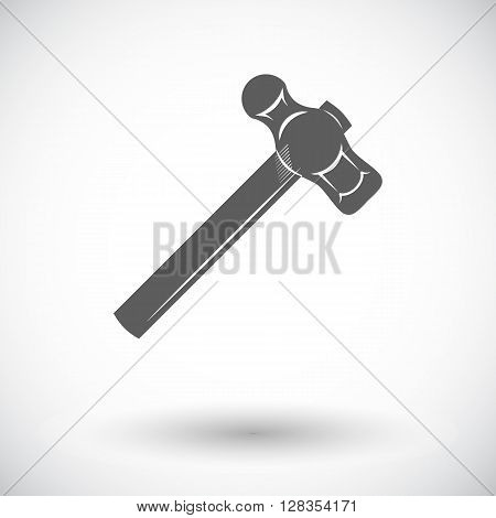 Hammer. Single flat icon on white background. Vector illustration.