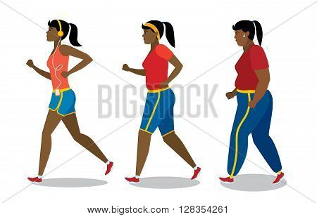 Weight loss stages on white background. African american girl lose weight, keep fit and follow a diet. Become thin and slim. Shape change. Fit female character.
