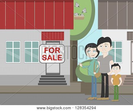 Young family with for sale house. Family search for new house. House with for sale sign. Happy new family. Parents and child. Pregnant mother.