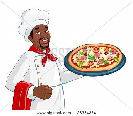 African american chef holding pizza. Plate with pizza. Ingredients as cheese, mushroom, tomatoes, greens. Fresh and delicious.