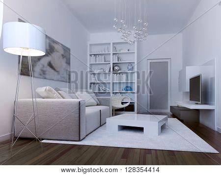 Living room avant garde style. 3d render