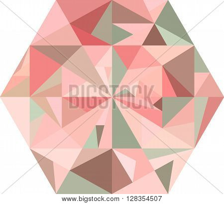 Abstract pink diamond on a white background. Polygonal shape. Concept of ice, diamond, jewell, crystal. Pink and brown pattern.
