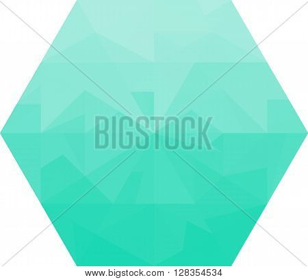 Abstract turquoise diamond on a white background.  Polygonal shape. Concept of ice, diamond, jewell, crystal.