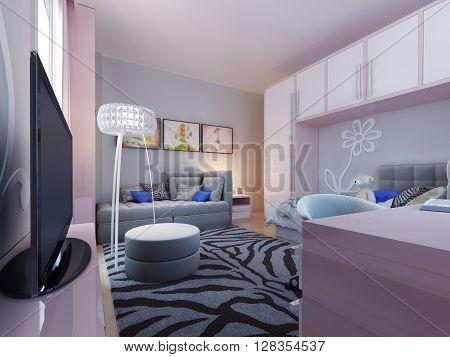 Modern teenager bedroom design, plasma tv. 3d render