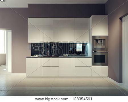 Modern kitchen design, white kitchen furniture. 3d render