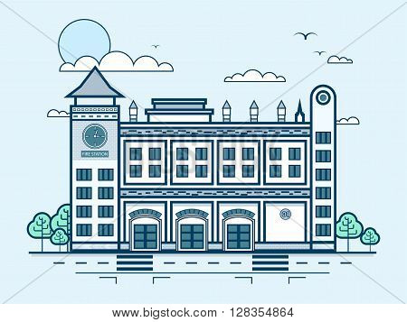 Stock vector illustration city street with fire department, modern architecture in line style element for infographic, website, icon, games, motion design, video