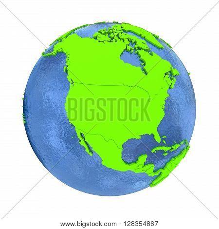 North America On Green Earth
