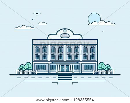 Stock vector illustration city street with restaurant, modern architecture in line style element for infographic, website, icon, games, motion design, video