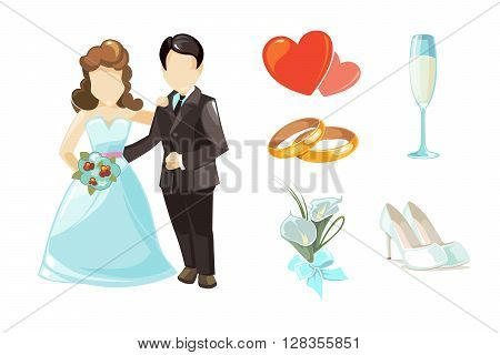Wedding couples vector illustration. European Wedding couples isolated on white background. Weddings elements set of wedding rings, rad hearts, wedding white shoes