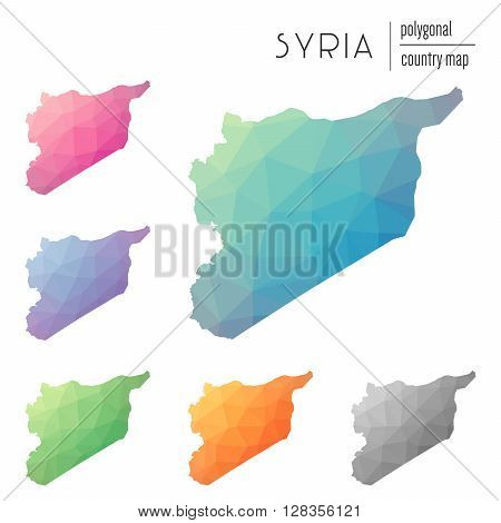 Set Of Vector Polygonal Syrian Arab Republic Maps. Bright Gradient Map Of Country In Low Poly Style.