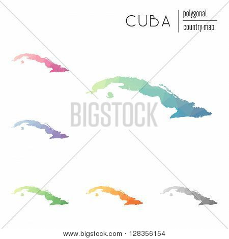Set Of Vector Polygonal Cuba Maps. Bright Gradient Map Of Country In Low Poly Style. Multicolored Cu