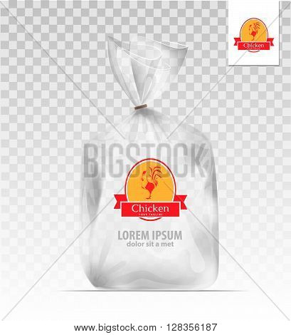 Empty Transparent plastic gift bag with logo chicken. Logo design template. Company logo design.