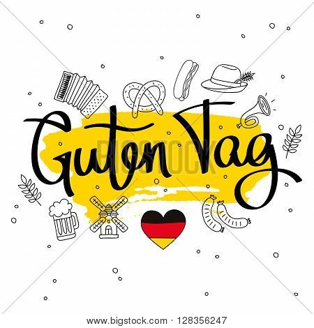 Guten Tag. Word hello in German. Fashionable calligraphy. Vector illustration on white background with a smear of yellow ink.