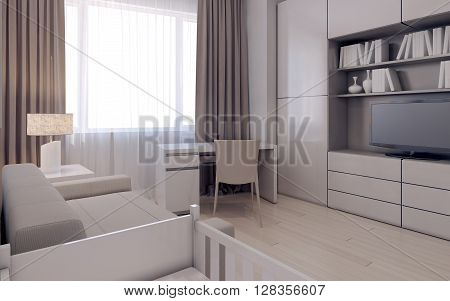 Living room in avant-garde design. 3d render