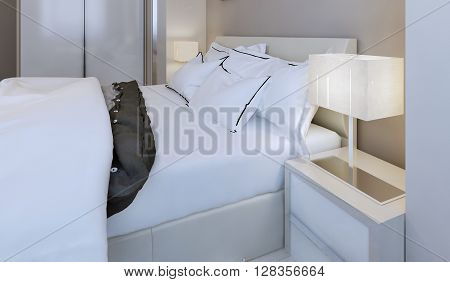 Snow-white bed design, bed with pillows. 3d render