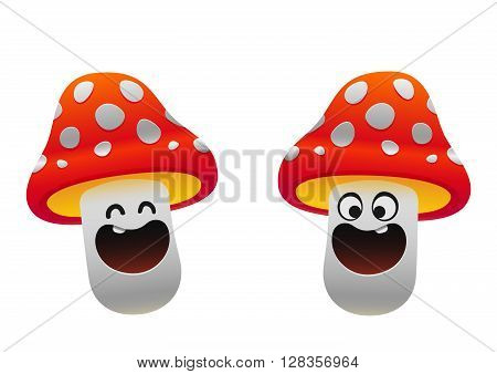 cheerful mushroom smiling two types red and whit fun